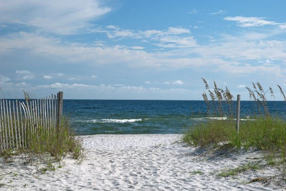 A typical beach on the Gulf coast